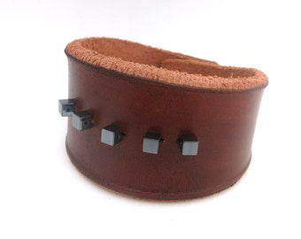 Brown Rawhide Leather Cuff Bracelet with Hemetite Beads