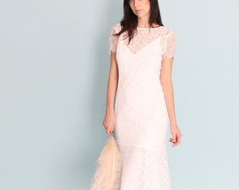 Boho wedding dress sale medium crochet lace Battenburg sleeves train chic low back petit sale discount