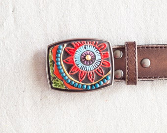 Boho Belt Buckle READY TO SHIP Statement Mosaic Tile Belt Buckle Leather Belt Colorful Pottery Unique Gift for Her Hip Gift for Women