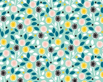 Cloud9 Glint Floret Turquoise Organic Cotton Fabric