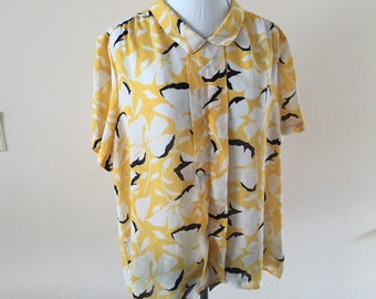 Sunny Yellow Blouse Vintage 1980s Plus size