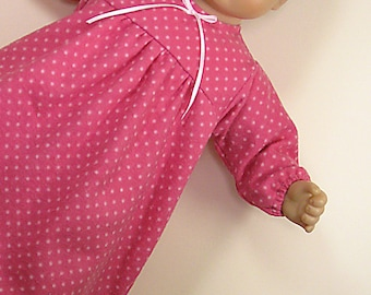 Bitty or Twin Doll Clothes - Rose Nightgown with pink dots