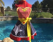 Valentines Day Wonder Woman Sassy Apron, Womens Misses and Plus Sizes, Retro Pin Up, Handmade, Cosplay, Americana,Costume Party, Sweetheart