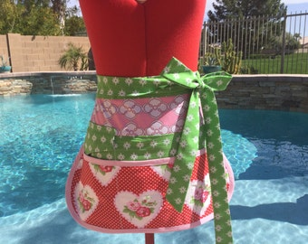 Roses Vendor Apron, Half Apron with 6 Pockets, great for Gardening, Utility, Teachers, Beautiful rose fabric by Tanya Whelan  Rose Flowers