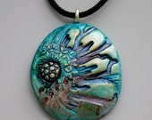 Artisan Pendant Necklace Polymer Clay and Glass Cabochon Watercolor Floral