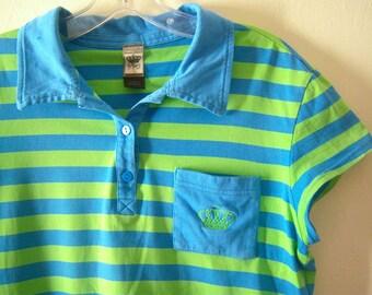 Adidas polo shirt / striped tennis shirt / blue green activewear / womens medium