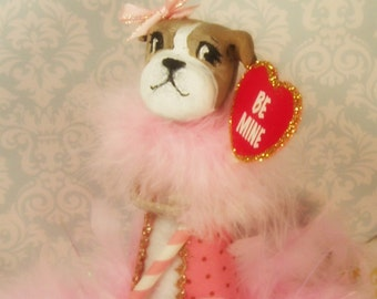 Boxer Valentine decor Boxer girl doll Boxer tree topper paper clay boxer Valentine centerpiece pink and white be mine vintage inspired doll