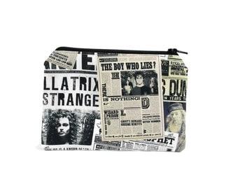 Harry Potter Pouch / Daily Prophet Headlines Camera Bag / Sirius Black Bellatrix Lestrange Make Up Bag