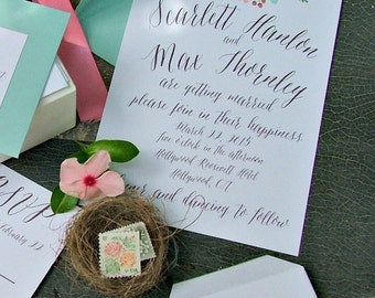 Spring Painted Pastel Floral Wedding Invitation with hand written calligraphy perfect for a Garden Wedding Theme - Peach and Mint wedding