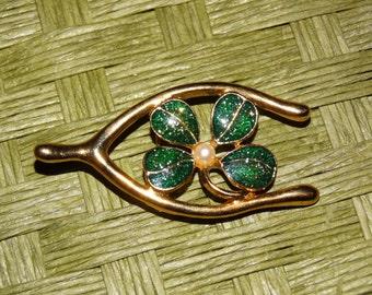 Irish Jewelry 4 Leaf Clover Good Luck Brooch Pin, Pearl Gold Wishbone, Saint Patricks Day, Green, Wishbone Pin Four Leaf Clover, Irish Luck