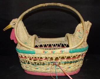 Vintage Chicken Easter Basket, Easter Egg Basket, Holiday Basket, Shabby, Chic, Teal & Pin, Easter Egg Hunt Basket