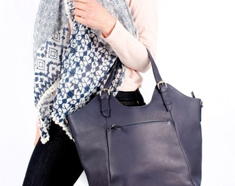 Bue Leather Handbag, Purse, Tote, Bag