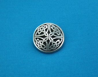 """1"""" Celtic Knotwork Button, Handmade in Silver Pewter, STK231"""