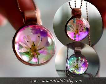 Glass Pendant Necklace Real Pressed Flower Jewelry Botanical Pendant Eco Friendly Accessories for Her Holographic Luminescent Dichroic Glass