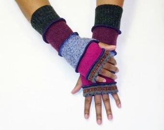 Fingerless Gloves, Arm Warmers (Print Blue, Burgundy Stripe/Magenta/Heather Light Blue/Wine/Dark Grey)