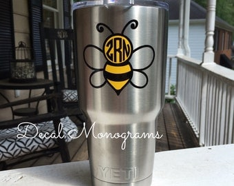 Bumble Bee Monogram Vinyl Decal