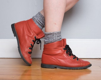 Vintage Red Leather Ankle Boots Made in Romania