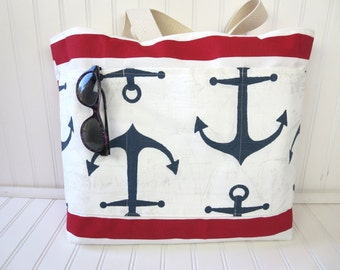 Anchor Tote Bag - Anchor Beach Bag - Nautical Tote Bag - Nautical Beach Bag - Waterproof Beach Bag - Tote Bag