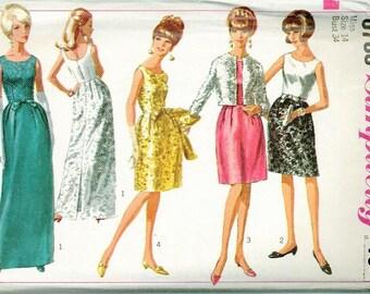 1966 Simplicity 6788 Retro Dress Sewing Pattern Vintage Size 14 Jackie O or Audrey Hepburn