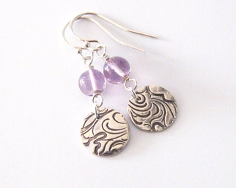 Amethyst Gemstone Earrings Eco Friendly Fine Silver, Wave Pattern, Sterling Silver Hooks, One of a Kind