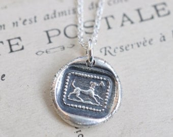 dog wax seal necklace … little dog running with a letter - fidelity, alertness, affection - fine silver antique wax seal jewelry