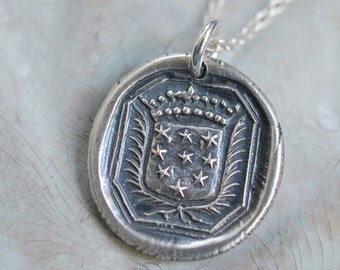 stars wax seal necklace …  truth, spirit and hope - fine silver armorial crest wax seal jewelry