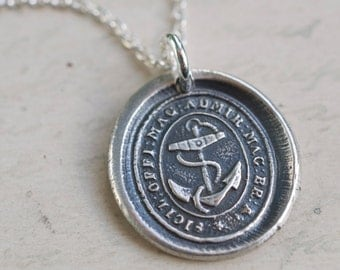 Great Britain Royal Navy fouled anchor wax seal necklace - symbol of hope - historical Royal Navy - silver nautical antique wax seal jewelry