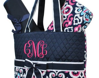 Personalized Diaper Bag Damask Navy Blue Hot Pink Quilted Monogrammed Baby Tote
