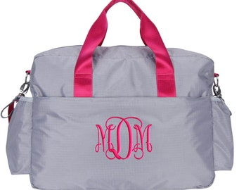 Personalized Diaper Bag Gray Hot Pink Chevron, Monogrammed Baby Tote, Girl