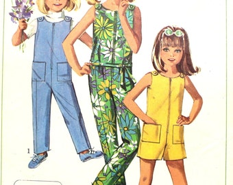 Girl's Jiffy Jumpsuit in 2 Lengths Size 6 Simplicity 7154 1960s Sewing Pattern