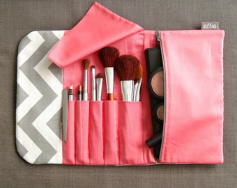 Makeup Organizer. Travel Gift Women. Combined Makeup Bag & Brush Roll in Grey Chevron. Makeup Brush Bag. Makeup Storage Gift. Gift for Women