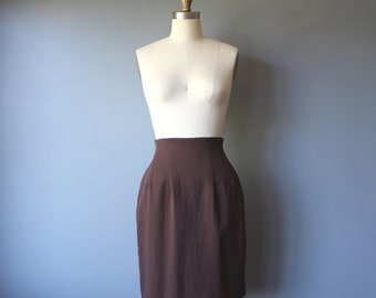 vintage 90s pencil skirt / brown wool skirt / high waist mini skirt