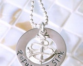 Hand Stamped Jewelry, Personalized Jewelry, Anchor, Anchor Necklace, Refuse to Sink, Anchor Charm, Anchor Jewelry, I Refuse to Sink Jewelry