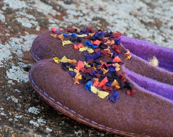 Wool slipper women Brown Purple Handmade natural wool house shoes slippers Gift for her