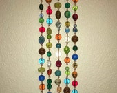 GLASS Beaded Sun Catcher on Copper with Crystals, Boho Sun Catcher