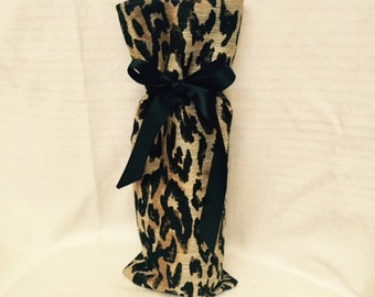 Exotic cheetah decorator fabric will wrap up a gift in style!  Wine Wrap!  OOAK