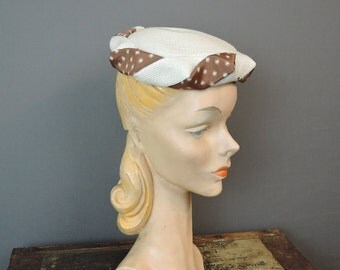 Vintage 1950s White Straw Hat with Brown Polka Dotted Ribbon Band, 22 inch Head. S[ring Summer