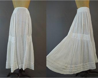 Edwardian Skirt 1900s White Dotted Swiss Petticoat or Skirt, XS 21 inch waist, Antique Clothing