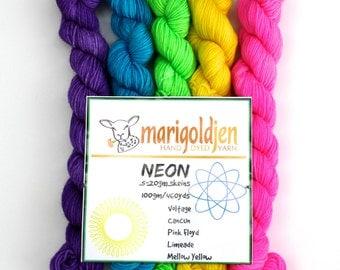 Neon Mini's--hand dyed sock yarn mini's, merino and nylon, (450yds/100gm)