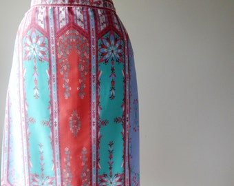 HUNGRY PALETTE Skirt, Size 14, Pink, Blue, Green, Cotton blend,Hand Screened Fabric, Vintage