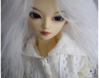 "White Tibetan mohair wig for size 7/8"" MSD Minifee hujoo"