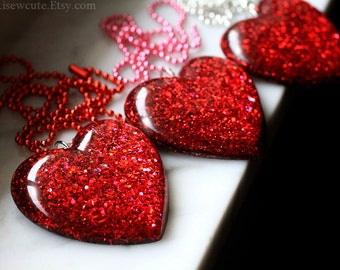Valentine Jewelry, Big Red Glitter Heart Pendant Necklace, Red Glitter Heart, Resin heart pendant, Resin Necklace, Resin Jewellery, isewcute