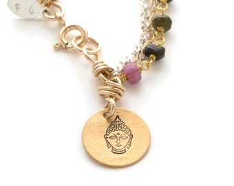 Charm, Gold Fill, Tourmaline, Gemstone, Sterling Silver, Buddha, Rose, Horseshoe, Heart Bracelet