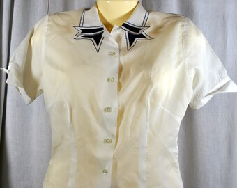 Vintage Sidney Heller Short Sleeve White Blouse with Navy Accent Collar