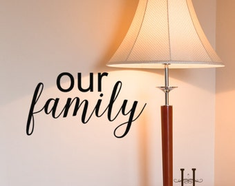 Our Family Vinyl wall decal Quote Decor, Family Decals, Living room decor, Kitchen wall vinyl , Window decals, 13 x 24, Removable vinyl