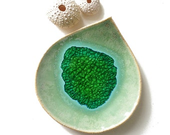 Handmade Pottery bowl Rainforest leaf sculpture Green stoneware ceramic Glass art Turquoise blue recycled glass Soap dish Birthday gift