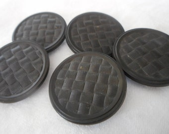 Set of 5 Large ANTIQUE Texture Weave Design Black Goodyear Rubber BUTTONS