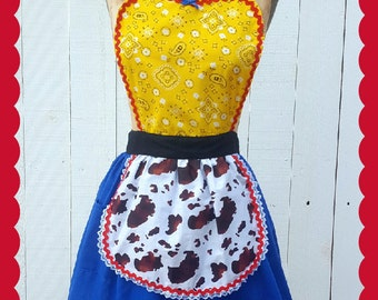 Jessie Toy Story costume apron,  womens costume apron, cowgirl costume, Jessie costume, cosplay, full apron, retro  apron costume, dress up