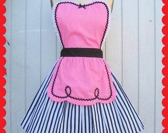 apron pink  apron 50s apron DINER WAITRESS apron ice cream shop candy shop fifties apron hostess apron bridal shower gift womens  aprons