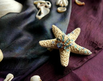 starfish hair clip - pale blue crystal, mermaid collection